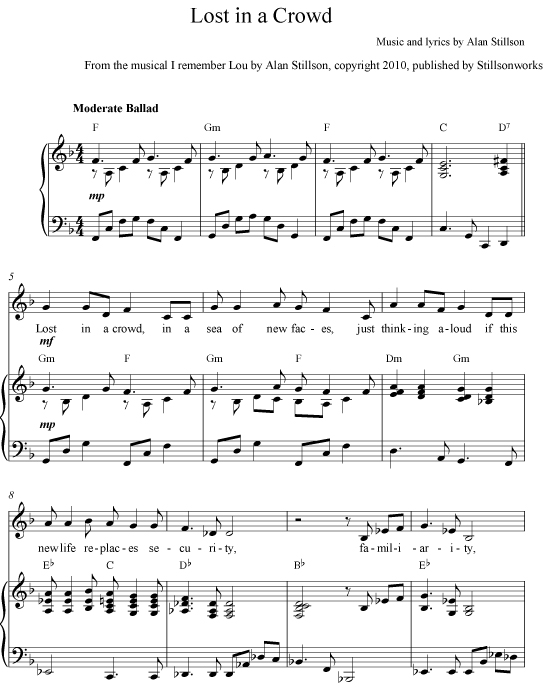 Lost in a Crowd - Sheet Music